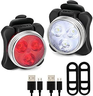 SLKTDZM Luces de la Bici Delantero y Trasero, USB Recargable ...