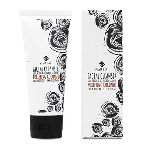 Alaffia - Coconut Reishi Facial Cleanser, Detoxifying Support to Gently Cleanse and Remove Impurities for All Skin Types with Shea Butter, Activated Charcoal, and Coconut Oil, Fair Trade, 3.4 Ounces