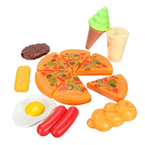 Miniature 13PCS Plastic Pizza Cola Ice Cream Children Kids Pretend Role Play Set Toy DIY Dollhouse Accessories ZevenMart