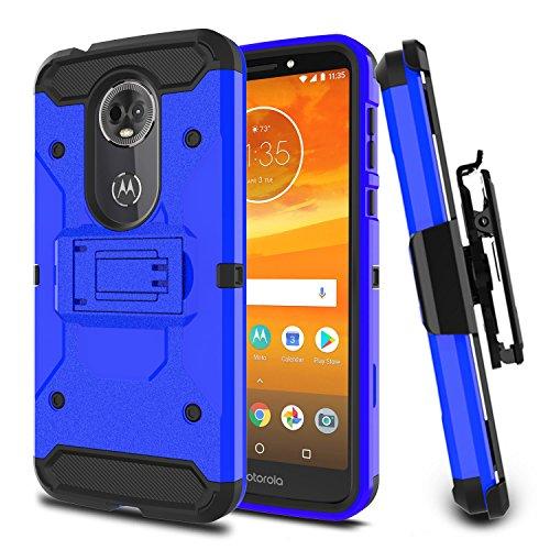 USHAWN Moto E5 Plus Case, Moto E5 Supra Case, Ultra Protective Armor Defender Rugged Case Cover with Belt Clip and Kickstand for Motorola Moto E5 Plus/Moto E5 Supra (Blue)