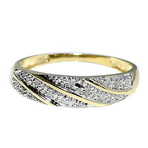 10k Gold Wedding Band Ring Mens 1/12cttw Diamond 5.5mm Wide Pave Set