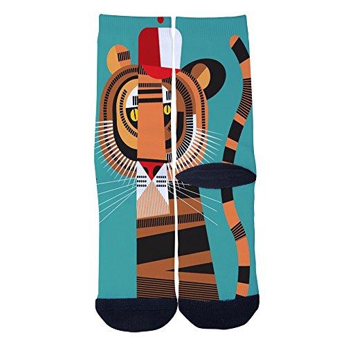 TaillyHai Men's Hiphop Tiger Custom Crew Socks Black by TaillyHai