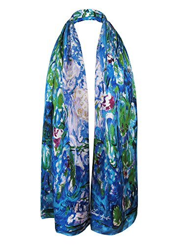- Swhiteme Luxurious 100% Silk Charmeuse Long Scarf - Claude Monet's