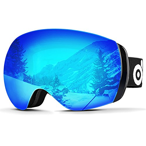 Odoland Large Spherical Frameless Ski Goggles for Men and Women, S2 OTG Double Lens Goggles for Skiing, Snowboaring, Snowmobile, UV400 Protection & Anti-Fogging