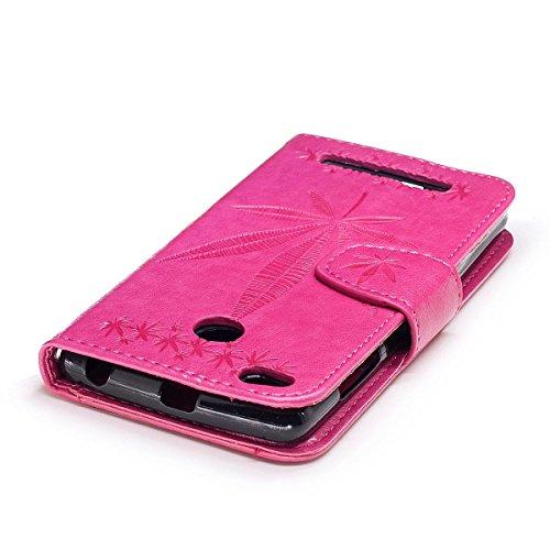 Erdong® funda Para Xiaomi Redmi 3S 5.0, Flip Book-style Superior Negro PU de la carpeta de cuero de diseño [impresión hoja de arce] Con la función del soporte y ranuras titular de la tarjeta para Xia Rose