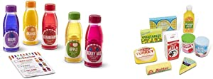 Melissa & Doug Tip & Sip Toy Juice Bottles & Fridge Food Set