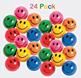 Rubber Smile Face Bouncing Balls - Pack Of 24 - 1 Inch Assorted Colors - Mini Smiley Hi-Bounce Balls – For Kids Boys And Girls Great Party Favors, Bag Stuffers, Fun, Toy, Gift, Prize – By Kidsco