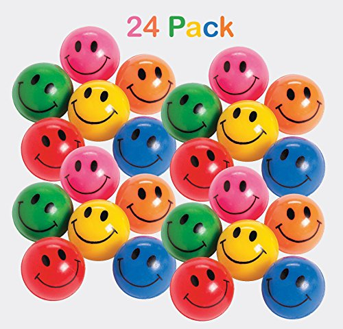 Rubber Smile Face Bouncing Balls - Pack Of 24 - 1 Inch Assorted Colors - Mini Smiley Hi-Bounce Balls – For Kids Boys And Girls Great Party Favors, Bag Stuffers, ()