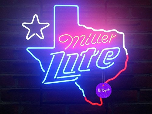 UrbyTM Miller Lite Texas Neon Sign Neon Light Beer Bar Pub Recreation Room Windows Wall Sign Display Signboards 18