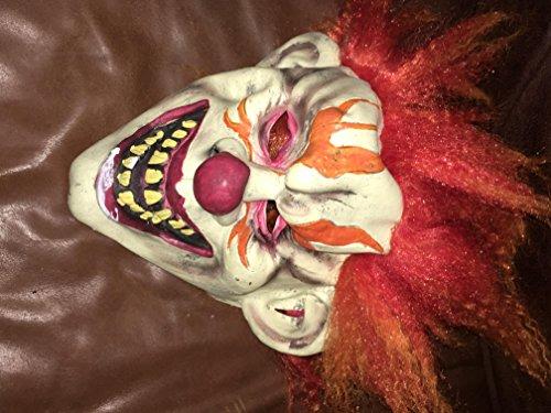 Wrk Killer Clown Mask Latex Orange Hair Halloween -