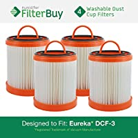 4 - Eureka DCF-3 Washable and Reusable HEPA Filters. Designed by FilterBuy to Replace Eureka Part #s 61825, 62136, 62136A, DCF3.