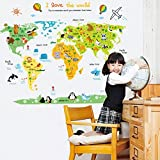 World Map Wall Decal Home Sticker PVC Murals Vinyl Paper House Decoration WallPaper Living Room Bedroom Kitchen Art Picture DIY for kids Teen Senior Adult Nursery Baby