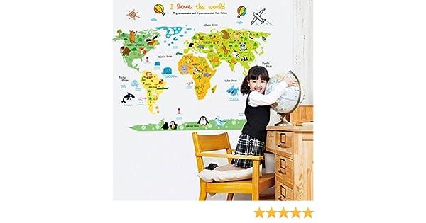 Carte du monde sticker mural Sticker Home PVC murales en vinyle Papier peint papier Décoration Maison Salon Chambre Cuisine Art Photo DIY pour enfant ...