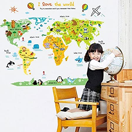 World map wall decal home sticker pvc murals vinyl paper house world map wall decal home sticker pvc murals vinyl paper house decoration wallpaper living room bedroom gumiabroncs Images