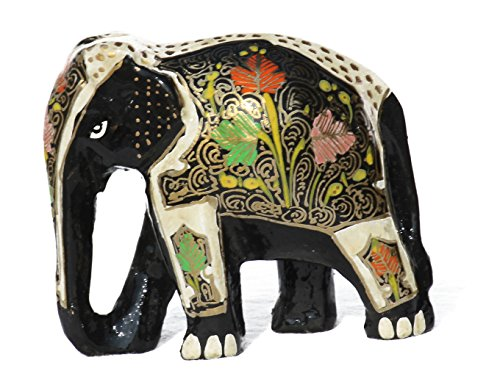 Elephant Wooden Artistic (Handmade artistic work, Wooden Handicraft Traditional Kashmiri paper mache Elephant, Hand Painted Antique Showpiece and gift item FOR VALENTINE'S DAY(2