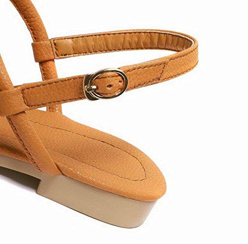 Sandales Unie AgooLar Talon Femme à Boucle Couleur Brun Bas GMBLB014055 04Uqp6RUw