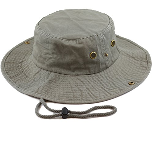 THE HAT DEPOT 300N1510 Wide Brim Foldable Double-Sided Outdoor boonie Bucket Hat (L/XL, (Brim Olive)