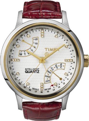 Timex Perpetual Calendar Watch (Timex Women's T2N568 Intelligent Quartz T Series Perpetual Calendar Red Croco Leather Strap Watch)