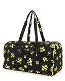 Quilted 21″ Fleur De Lis Print Duffle Bag (Black and Gold), Bags Central
