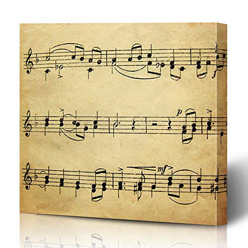 Ahawoso Canvas Prints Wall Art 16x16 Inches Notation Note Music Sheet Vintage Old School Melody Song Piano Design Material Decor for Living Room Office ()