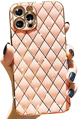 Anynve Compatible with iPhone 12 Pro Max Case for Women, Glitter Aesthetics Plating Case, Camera Lens Protection & Shockproof Edge Bumper Full Body TPU Cover Case [6.7 inches] -Pink