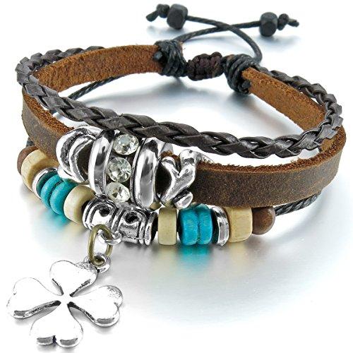 MunkiMix Alliage Genuine Leather Véritable Bracelet Menotte Brun Four Leaf Clover Trèfle à Quatre Feuilles Homme,Femme