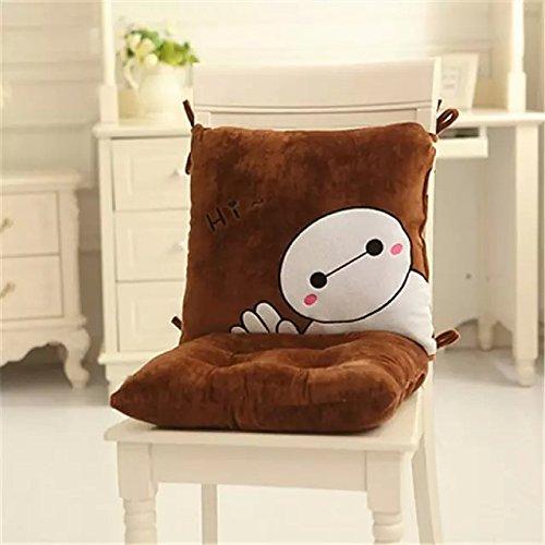 Cute Cartoon Hello Big White Baymax Plush Chair Cushion Lumbar Support Waist Pillow + Indoor/Outdoor High Back Chair Cushion(Brown Hi)