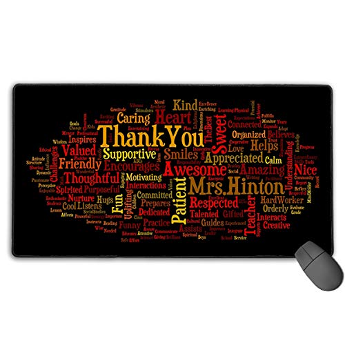 Extended Gaming Mouse Pad, Anti-Slip Rectangle Rubber Mousepad, 29.53 X 15.75 Inch XXL Computer Mat with Abstract Adjective Word Graphic