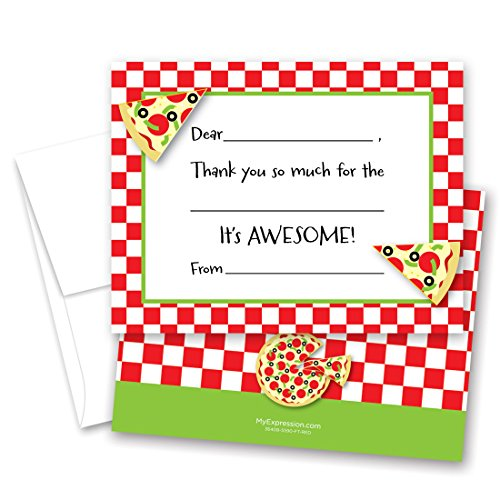 MyExpression.com 20 Pizza Slice Kids Fill-in Birthday Thank You ()