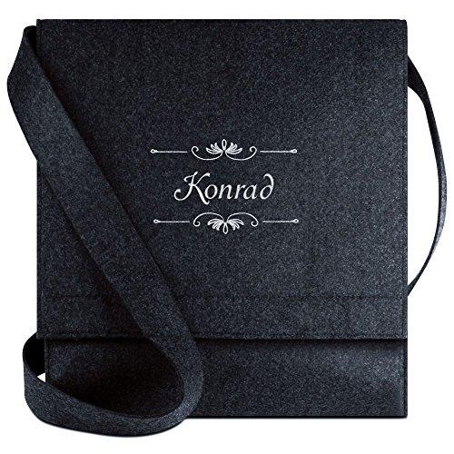 Halfar® Tasche mit Namen Konrad bestickt - personalisierte Filz-Umhängetasche