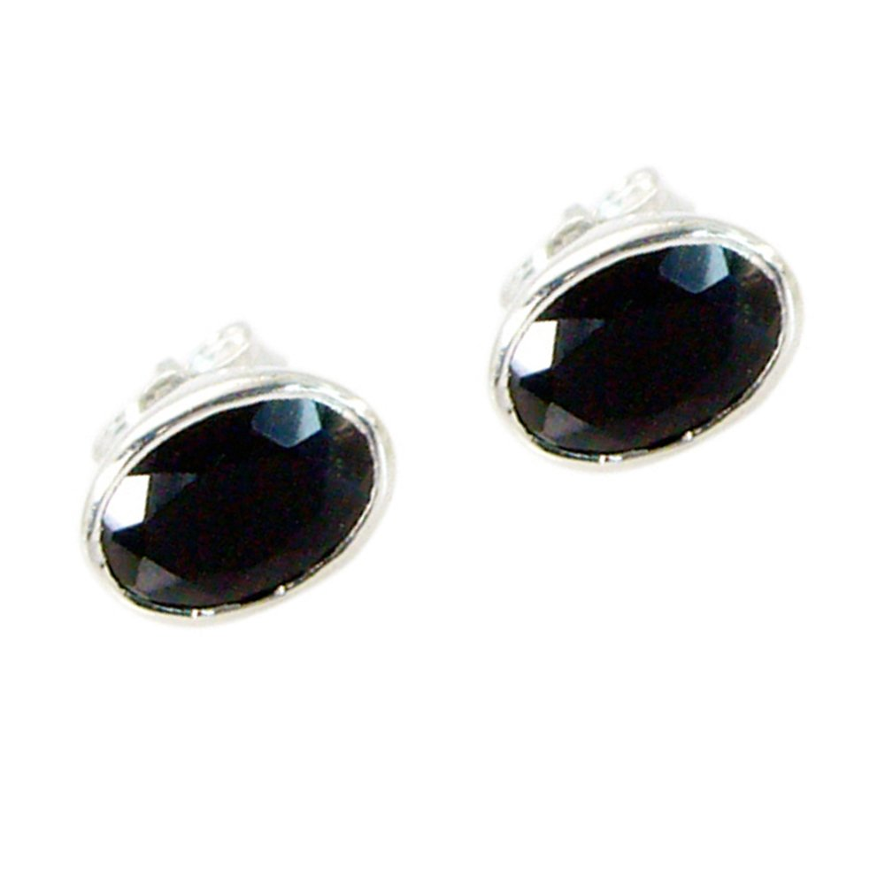 Jewelryonclick Pure Black Onyx Earring For Women Fashion Silver Stud Style Bezel Setting Handmade Jewelry