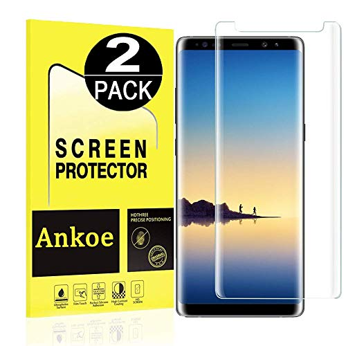 Galaxy Note 9 Screen Protector, Ankoe 3D Curved Full Coverage Anti-Scratch, Anti-Fingerprint, Easy to Install Curved Tempered Glass Screen Protector Samsung Galaxy Note 9 (Clear-2 Pack)