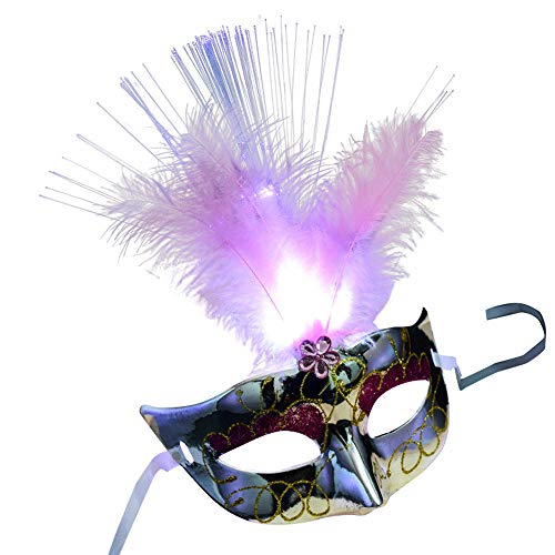 FengGa Girl Women Venetian Masquerade Ball LED Fiber Mask Sexy Glitter Ball Costume Party Mask Feather Princess Feather Masks with Gift Masquerade Masks for Mardi Gras Party Costume Parties ()