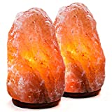 Natural Himalayan Salt Lamp. Hand Carved With Elegant Wood Base (Set of 2)