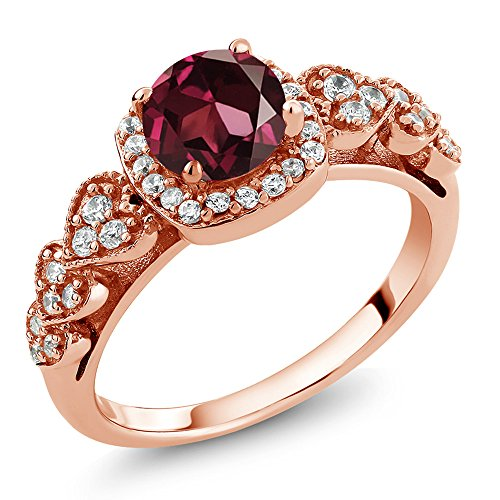 Gem Stone King 1.32 Ct Round Red Rhodolite Garnet 18K Rose Gold Plated Silver Ring (Size 8)