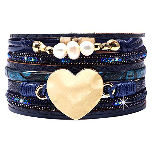 (DESIMTION Leather Wrap Cuff Boho Heart Multilayer Magnetic Pulseras de Mujer Wide Handmade Wristbands Wrist Braided Buckle Casual Bangle Bracelets for Women, Teen Girl, Boy (K-Blue Heart))