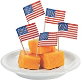 Lot of 144 Paper USA Flag Snack Cocktail Food Picks by Fun Express