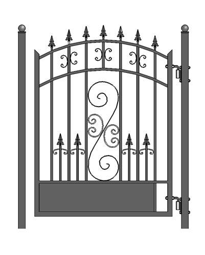 ALEKO PGVEN Venice Style Ornamental Galvanized Steel Pedestrian Security Gate 5 x 4 Feet Black ()