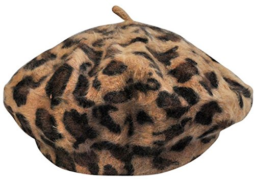 bettyhome Women Fashion Leopard Print Classic French Artist Rabbit Fur Beret Hat Cap (Khaki)