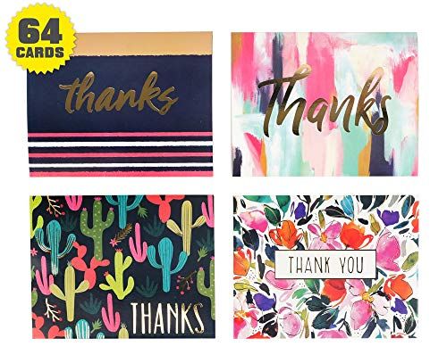 Thank you cards - Gold Foil Decorative embossed lettering - 64 count bulk (4 designs, 16 of each) with envelopes - Greeting card assortment great for wedding, Bridal & baby shower & birthday (Decorative Cards)