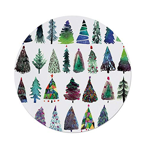 iPrint Polyester Round Tablecloth,Christmas,Big Collection of Watercolor Christmas Fir Trees Artistic Abstract Silhouettes,Multicolor,Dining Room Kitchen Picnic Table Cloth Cover,for Outdoor Indoor -