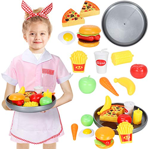 Dissytoys Waitress Costume Girls Restaurant Diner Role Play Dress up Set with Play Food Accessories for Kids 3-6 Years -