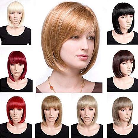 BOB Pelucas Cosplay Pelucas para Mujer Fiesta Pelucas Full Head Pelucas Moda Recto Pelo Sint/ético para Mujer