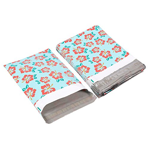 Poly Mailers 10x13-100-Piece Floral Printed Design Shipping Mailers - Shipping Envelopes Bags - Hibiscus Flower ()