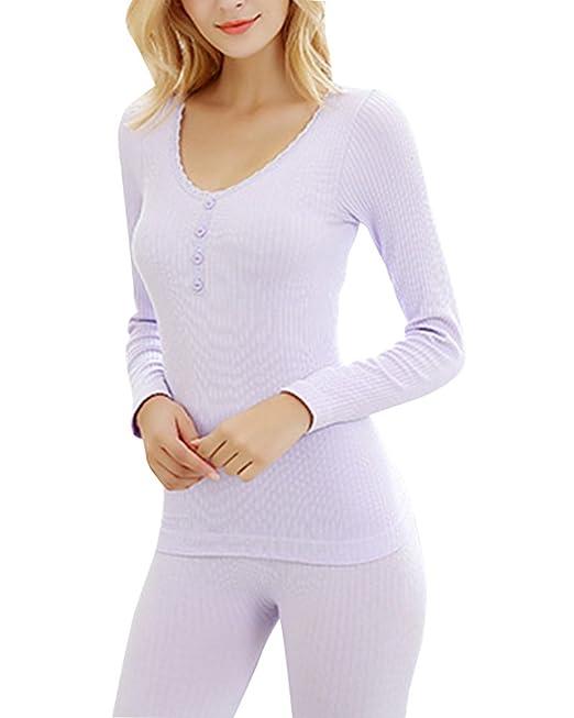 Anyu Mujer Conjunto térmico Invierno Chaqueta+Pantalones Larga Ropa Interior Conjunto de Pijama Ligero Púrpura
