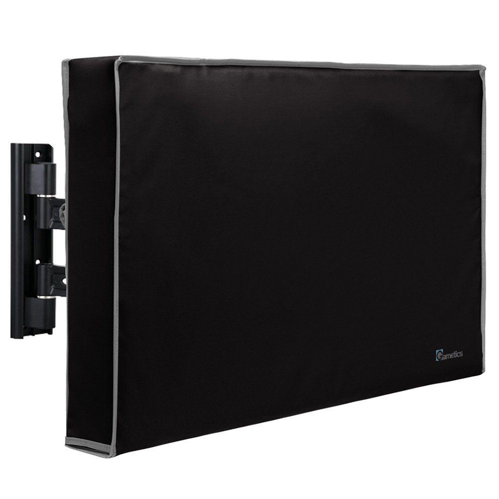 Garnetics Outdoor TV Cover 70''-75'' inch - Universal Weatherproof Protector for Flat Screen TVs - Fits Most TV Mounts and Stands - Black
