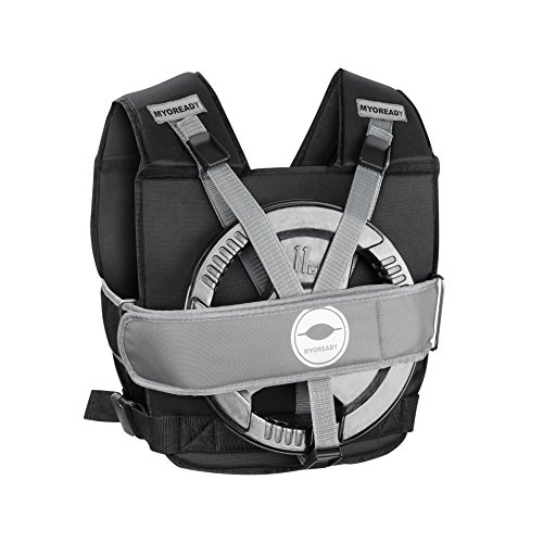 Myoready Weighted Vest (50 lb. Max) Adjustable, Heavy Duty Use | Olympic & Standard Barbell Weights | Gym, Running, Lifting Body Training | Men, Women | No Weights Included