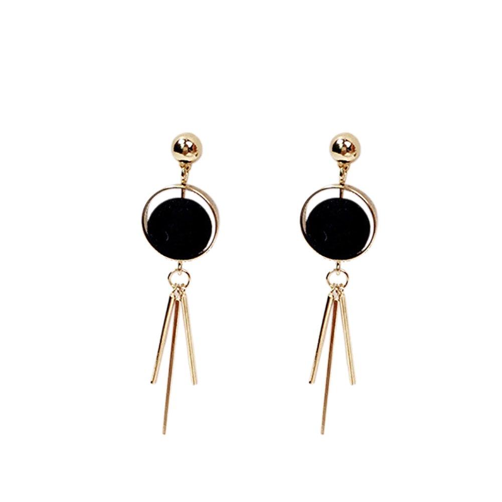 Cupcinu 1 Pair Pompon Earrings Ear Studs Long Hook Tassel Eardrop Earrings Studs Fluffy Ball Earrings Jewelry Accessories for Women Girls (Black)