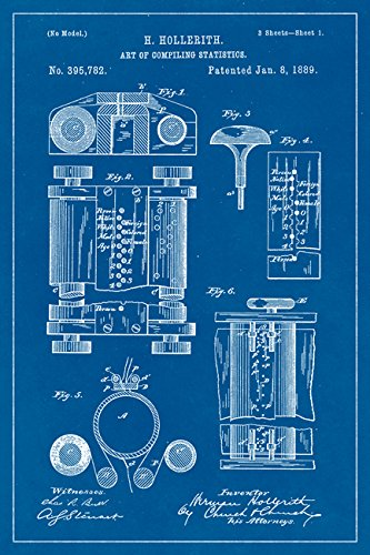 Amazon computer hollerith machine blueprint art poster computer hollerith machine blueprint art poster malvernweather Images