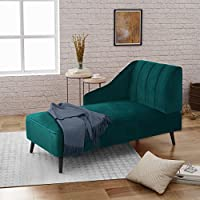 Great Deal Furniture | Indira | New Velvet Chaise Lounge | in Teal